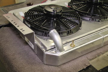 Griffin radiator with twin electric fans and shroud